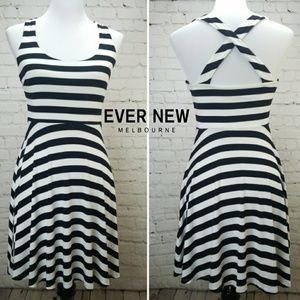 🖤EVER NEW🖤 Striped Day Skater Dress Cross Back